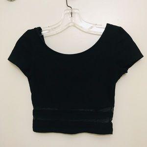 HM - black crop top with mesh detailing